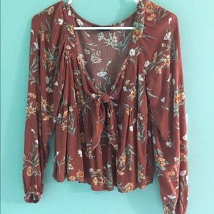 🌺RUST FLORAL KNOT BLOUSE🌺